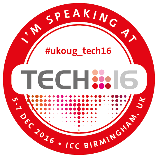 I'm speaking at UKOUG Tech16